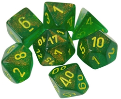 Picture of Dice Menagerie 10 Borealis Maple Green/Yellow 7-Die Set