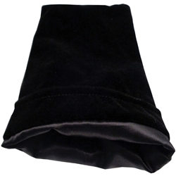 "Picture of Black Velvet and Satin 6"" x 8"" Dice Bag"