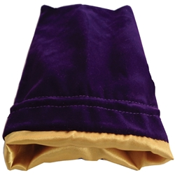 """Picture of Purple Velvet and Gold Satin 6"""" x 8"""" Dice Bag"""