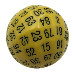 Picture of D100 Solid Yellow Dice