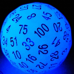 Picture of D100 Glow in the Dark Acid Blue Dice