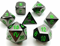 Picture of Glossy Black with Green Metal Mini Dice Set