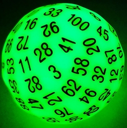 Picture of D100 Glow in the Dark Green Dice