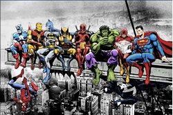 "Picture of Superheroes Lunch on a Skyscraper 24"" x 36"" Poster"
