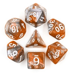 Picture of Amber Shard Gray and Orange Dice Set