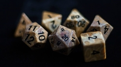 Picture of Coral Fossil Gemstone 16mm Dice Set