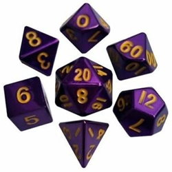 Picture of Metal Dice Set Purple with Gold