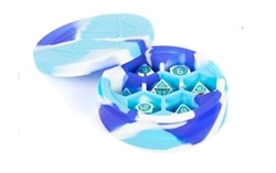 Picture of Silicone Blue/White/Light Blue Round Dice Case
