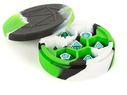 Picture of Silicone Green/Black/White Round Dice Case