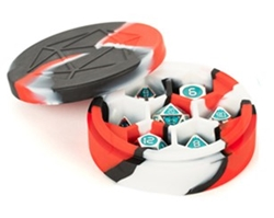 Picture of Silicone Red/Black/White Round Dice Case