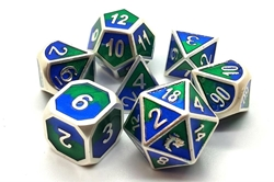 Picture of Dragon Forged Platinum Blue and Green 7-Dice Set