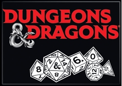 Picture of Dungeons and Dragons Logo and Dice Magnet