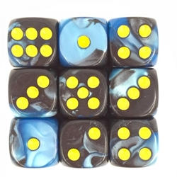 Picture of Blue and Black 12mm D6 Dice Set of 10