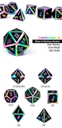 Picture of Dice Set Black and Rainbow Metal and Enamel 7-Dice Set
