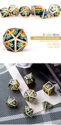 Picture of Dice Set Rainbow Metal and Enamel 7-Dice Set