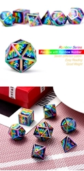 Picture of Dice Set Pyschadelic Metal and Enamel 7-Dice Set