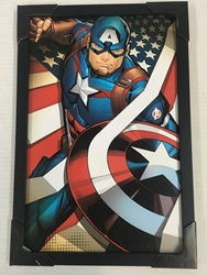 Picture of Captain America Flag Framed Print