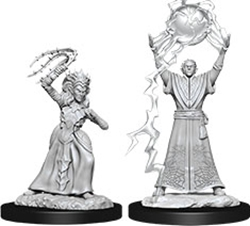 Picture of Dungeons and Dragons Nolzur's Marvelous Unpainted Drow Mage and Drow Priestess Miniatures