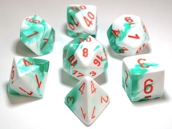 Picture of Dice Set Mint Green/White/Orange Lab Dice