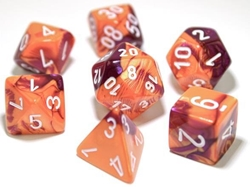 Picture of Dice Set Orange/Purple/White Lab Dice