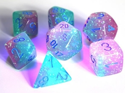 Picture of Dice Set Luminary Gel Green/Pink/Blue Lab Dice