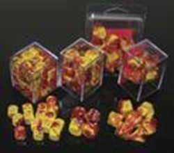 Picture of Dice Set Red and Yellow Faced/Silver Numbered Gemini Dice