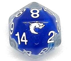 Picture of Old School D20 DnD RPG Die Liquid Infused Metallic Blue