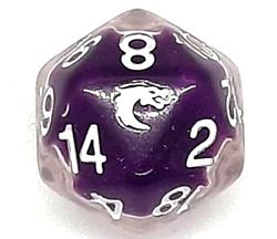 Picture of Old School D20 DnD RPG Die Liquid Infused Metallic Purple