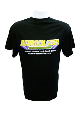 Picture of Bedrock City Logo on back of Mens T-Shirt. $5 of each Bedrock t-shirt sold through Feb 29th will be