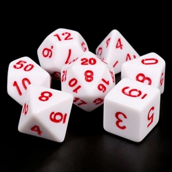 Picture of White Opaque with Red Dice Set