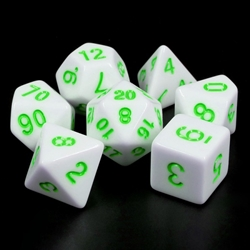 Picture of White Opaque with Green Dice Set