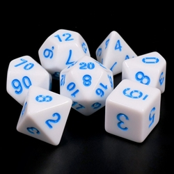 Picture of White Opaque with Bue Dice Set