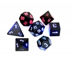 Picture of Dice Set Flashing Black Red Blue 7-Piece Set
