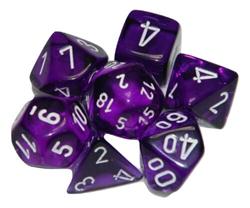 Picture of Dice Set Translucent Purple/White Revised