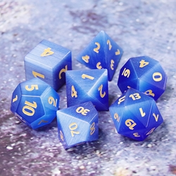 Picture of Cat's Eye Blue Gemstone Dice Set